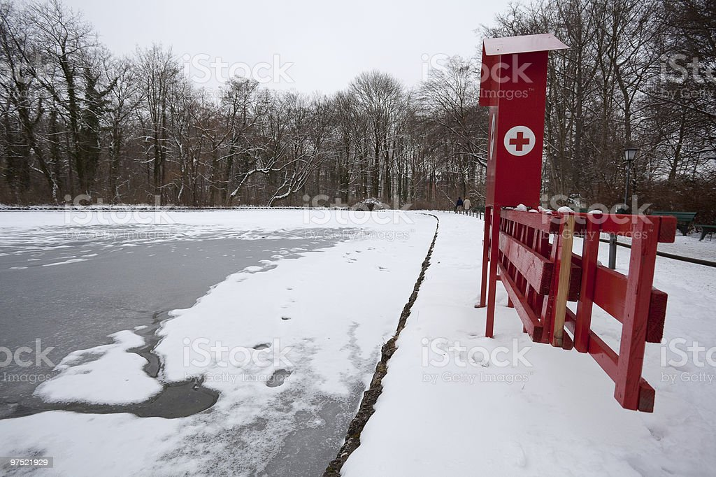 Frozen lake with first aid station royalty-free stock photo
