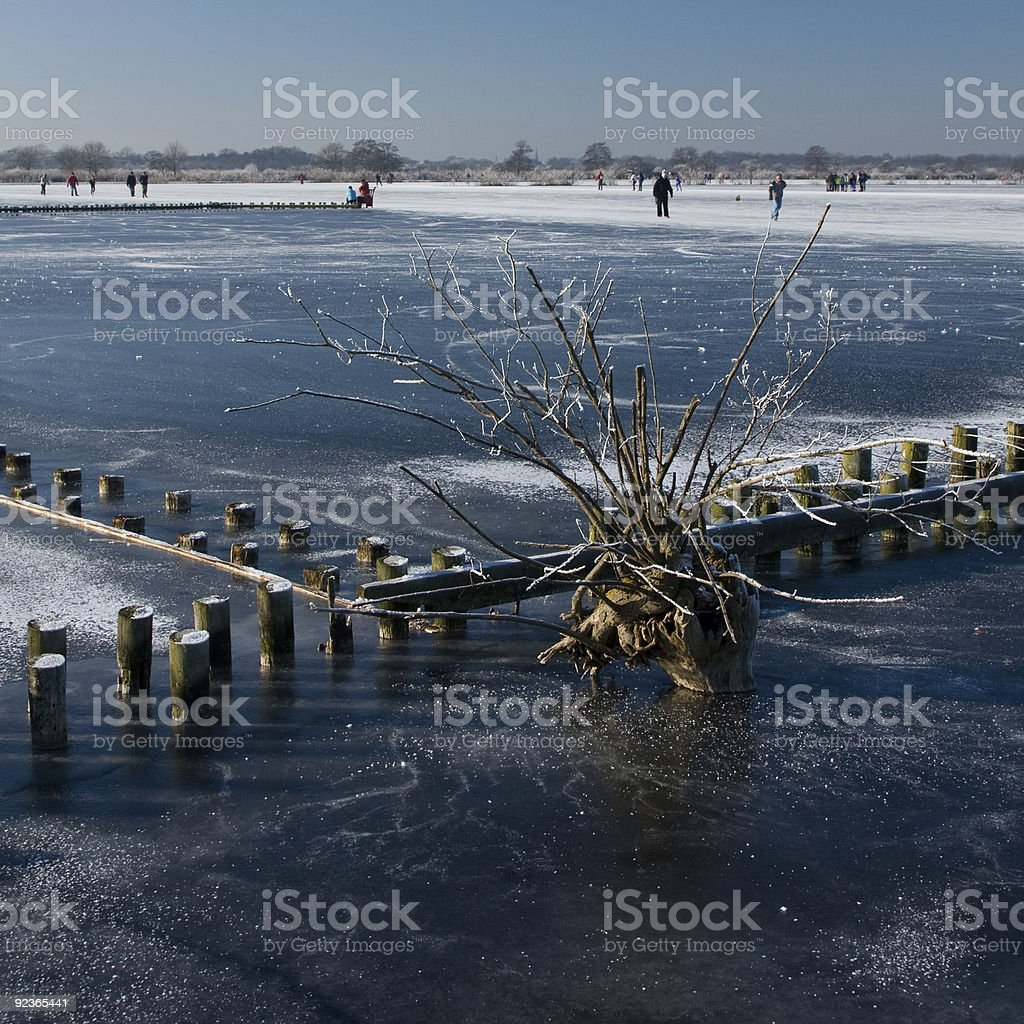 Frozen lake with skaters in the background royalty-free stock photo