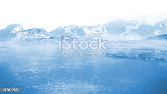 frozen lake with surrounding snow covered rocky mountains