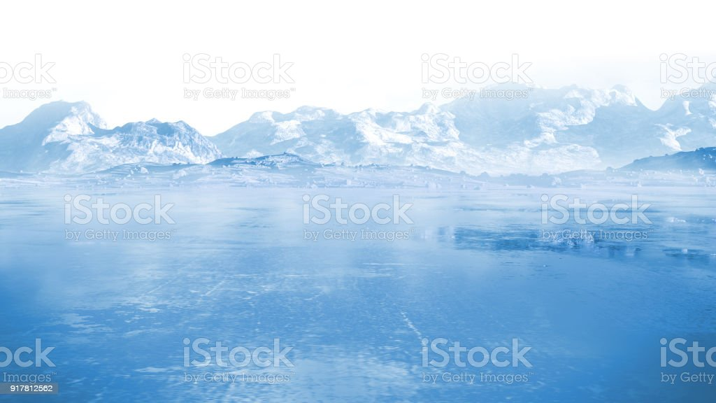 frozen lake with surrounding snow covered rocky mountains stock photo