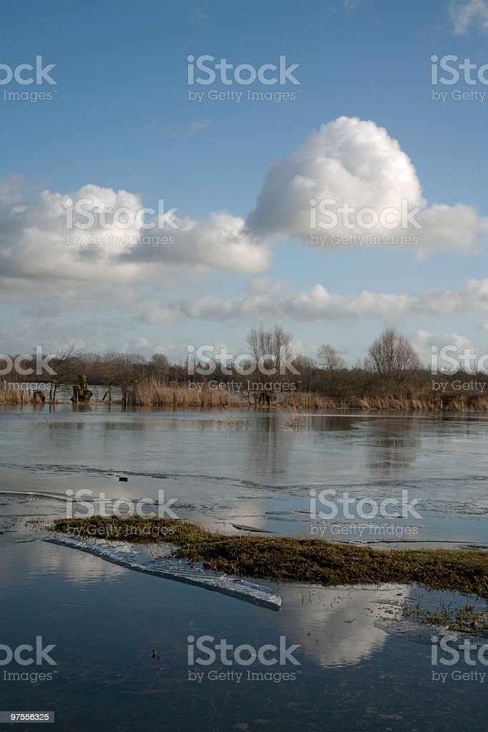 Frozen lakes in Winter royalty-free stock photo