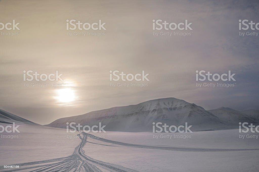 Frozen landscape in the Norwegian Arctic sunset stock photo