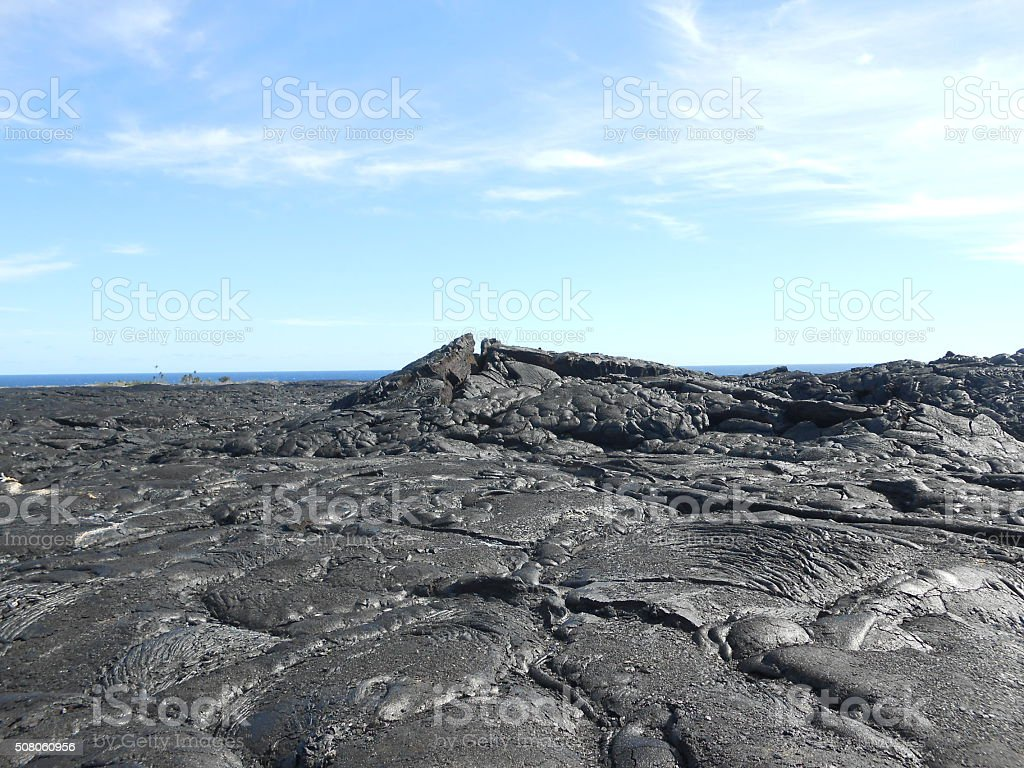 Frozen Lava on Big Island, Hawaii. stock photo