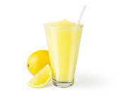 Frozen lemonade in a generic glass on a white background.