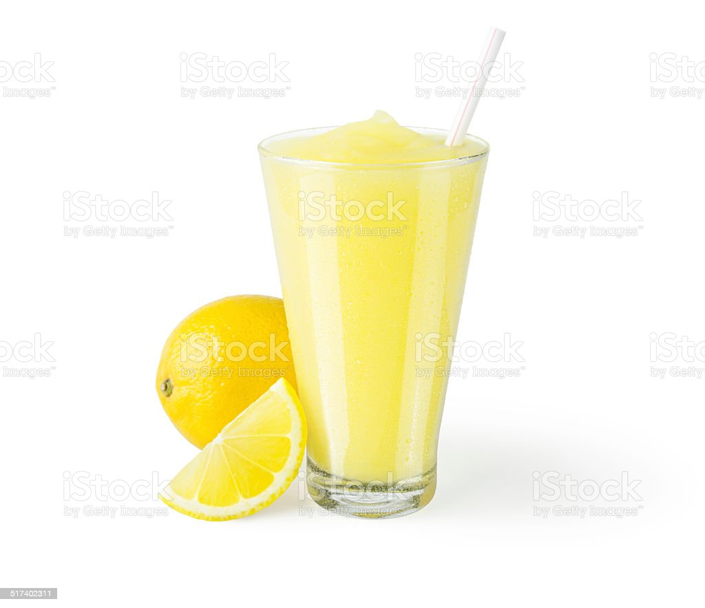 Frozen Lemonade or Lemon Smoothie with Garnish on White Background stock photo