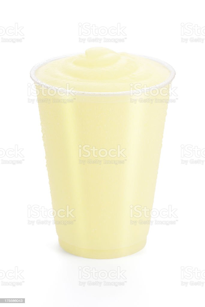 Frozen Lemonade or Pineapple Smoothie on White Background stock photo