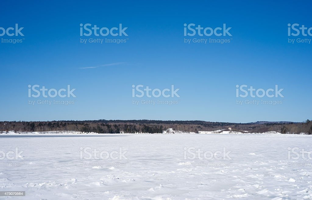 Frozen Long Cove at Searsport, Maine stock photo