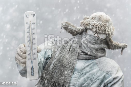 A frozen Caucasian male holding a mercury thermometer that reads -20 F (-32C) looking at the camera,  while outside in a snow storm. He is all bundled up in a fur trapper's hat, scarf, parka, and gloves, His eye glasses and the rest of him is covered in snow and frost.