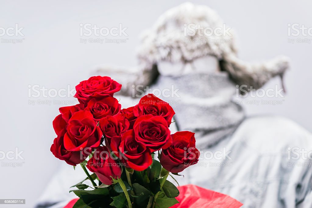 Frozen man presenting a bouquet of  a dozen red roses stock photo