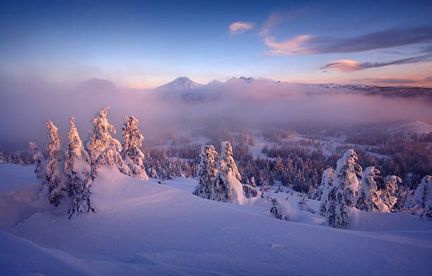 frozen misty morning - bend oregon stock pictures, royalty-free photos & images