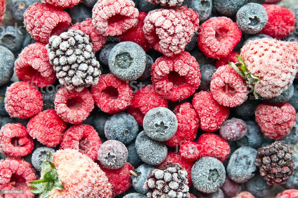 Frozen mix berries background stock photo