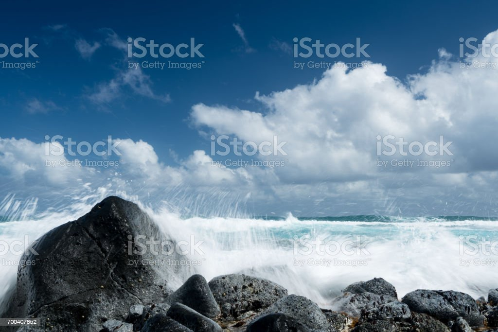 Frozen motion of ocean waves off Hawaii stock photo