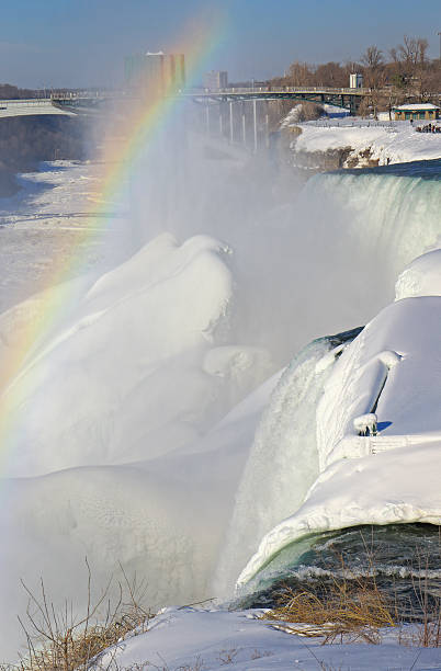 Frozen Niagara Falls American Niagara Falls with ice and snow in winter under the influence of polar vortex in 2014 rainbow bridge ontario stock pictures, royalty-free photos & images