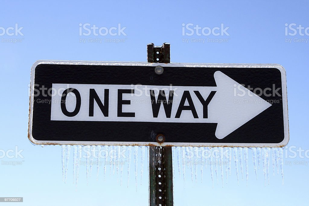 Frozen One Way Sign stock photo