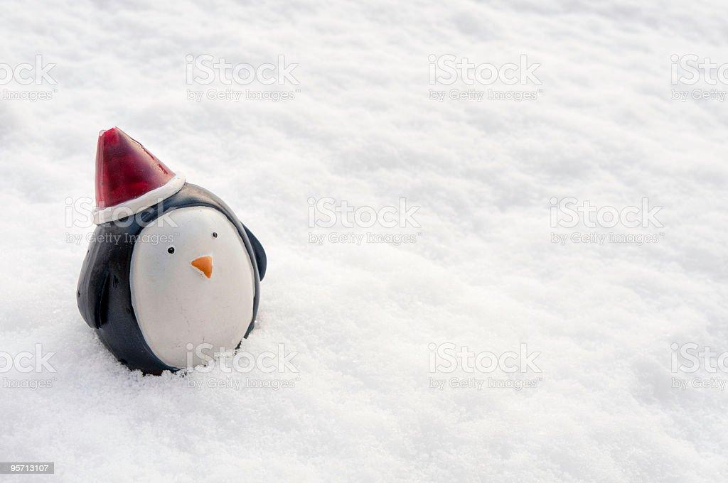 Frozen penguin - lost Christmas decoration! stock photo