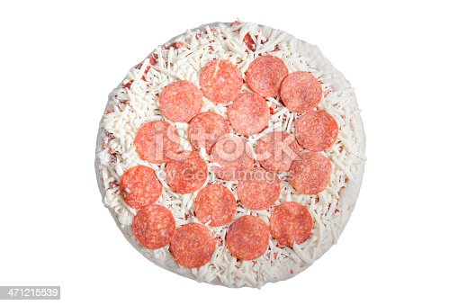 uncooked frozen pepperoni pizza isolated on white background