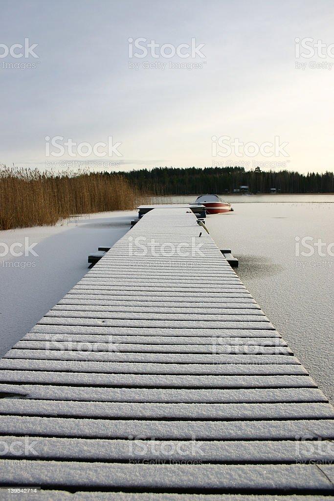 Frozen pier royalty-free stock photo