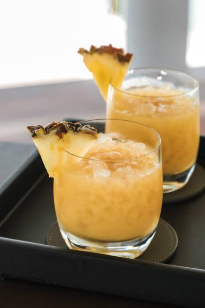 Frozen Pineapple Smoothie Cocktail stock photo