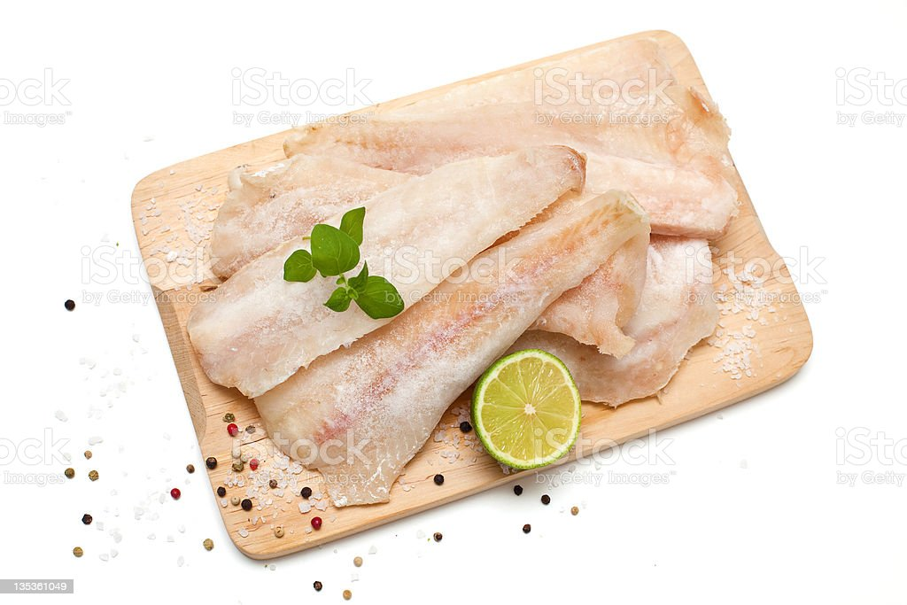 frozen pollock and spices royalty-free stock photo