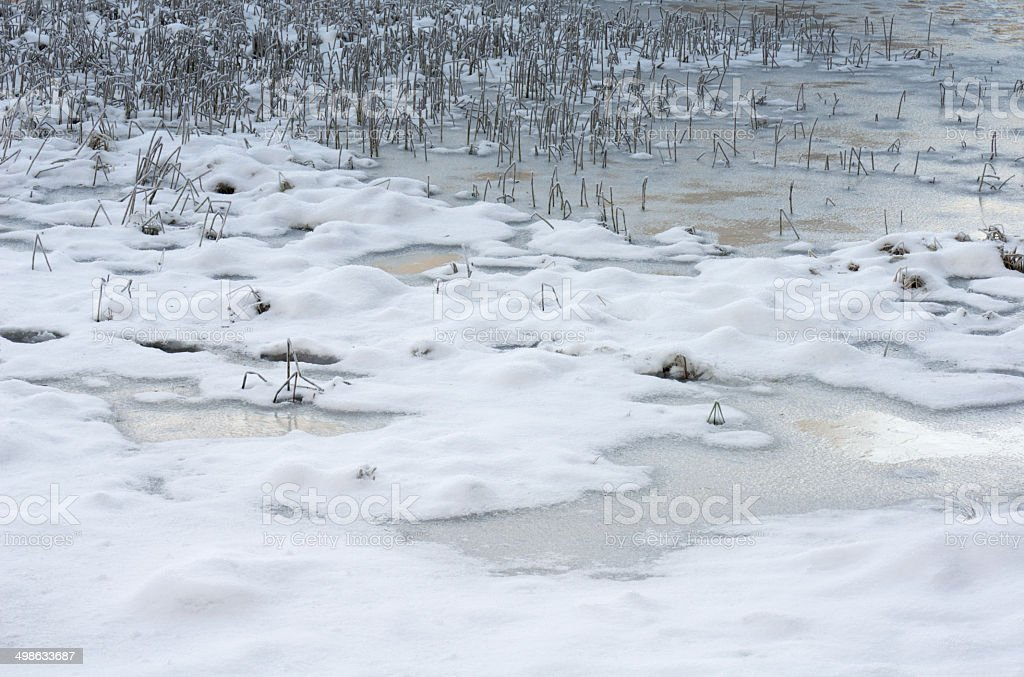 Frozen pond or small lake covered with snow in winter stock photo