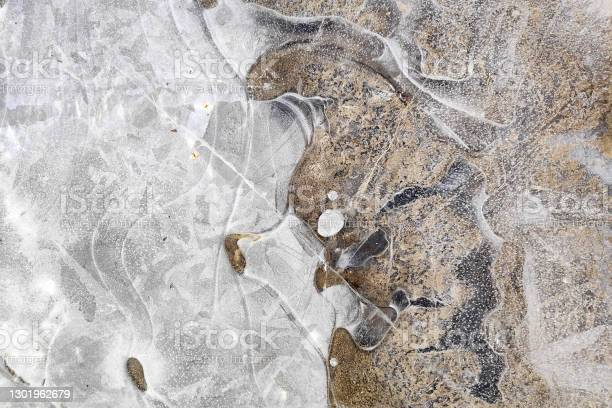 Frozen Puddle In Winter Stock Photo - Download Image Now