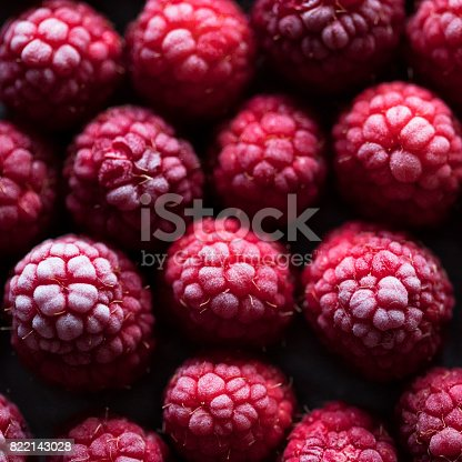 istock Frozen Raspberry Background 822143028