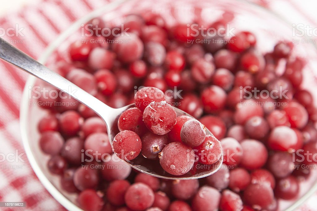 frozen red cranberry in bowl on napkin royalty-free stock photo