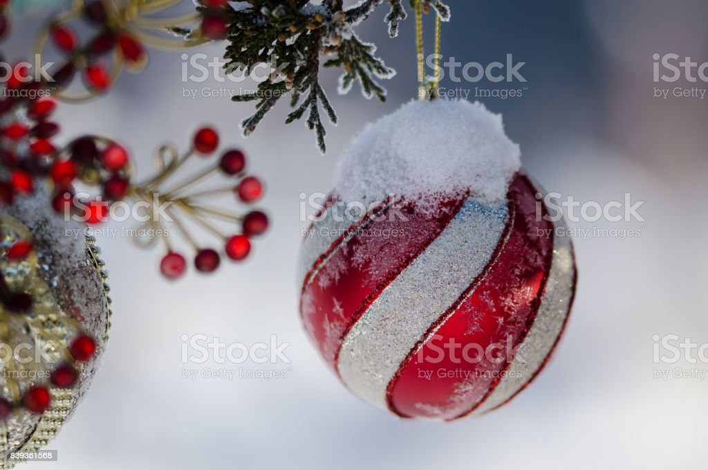 Frozen Christmas Decorations.Frozen Red Striped Christmas Ornament Decorating A Snowy