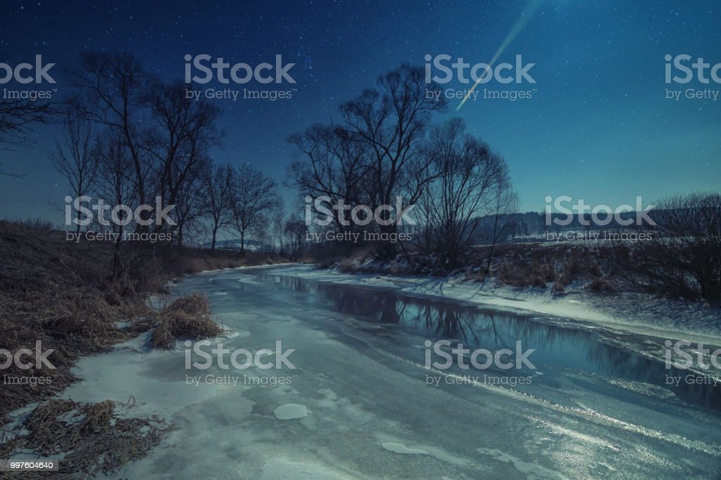 A frozen river by night. stock photo