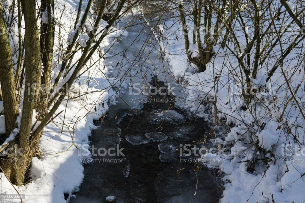 Frozen river covered by snow during winter. royalty-free stock photo