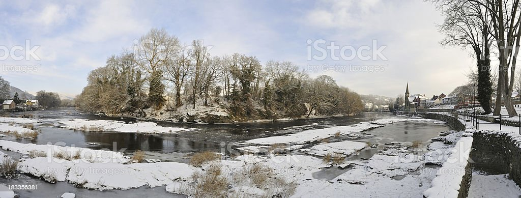Frozen River Dee at Llangollen royalty-free stock photo