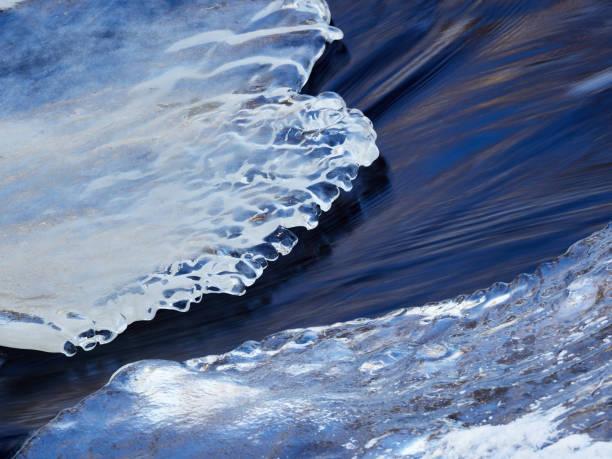 Frozen river encased in ice stock photo