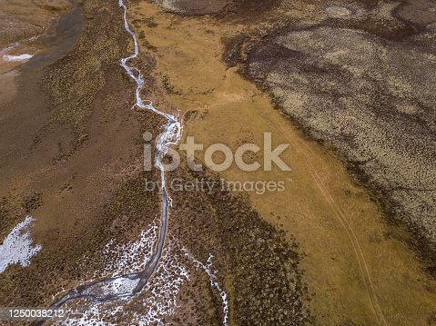frozen river from above in iceland, drone point of view.