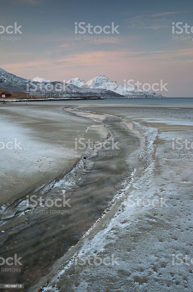 Frozen River, Grøtfjord, Troms royalty-free stock photo