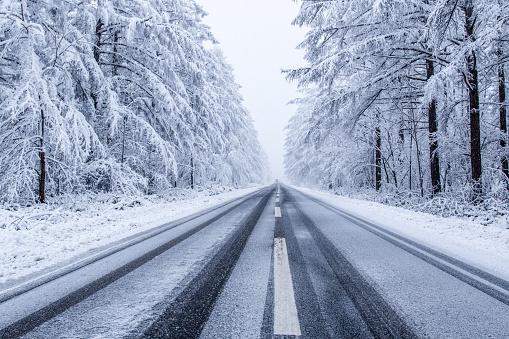 Frozen road, Hokaido,Japan.