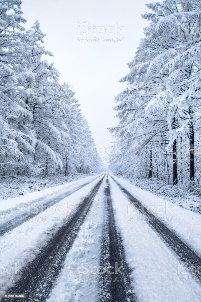 路面凍結、北海道。 ストックフォト