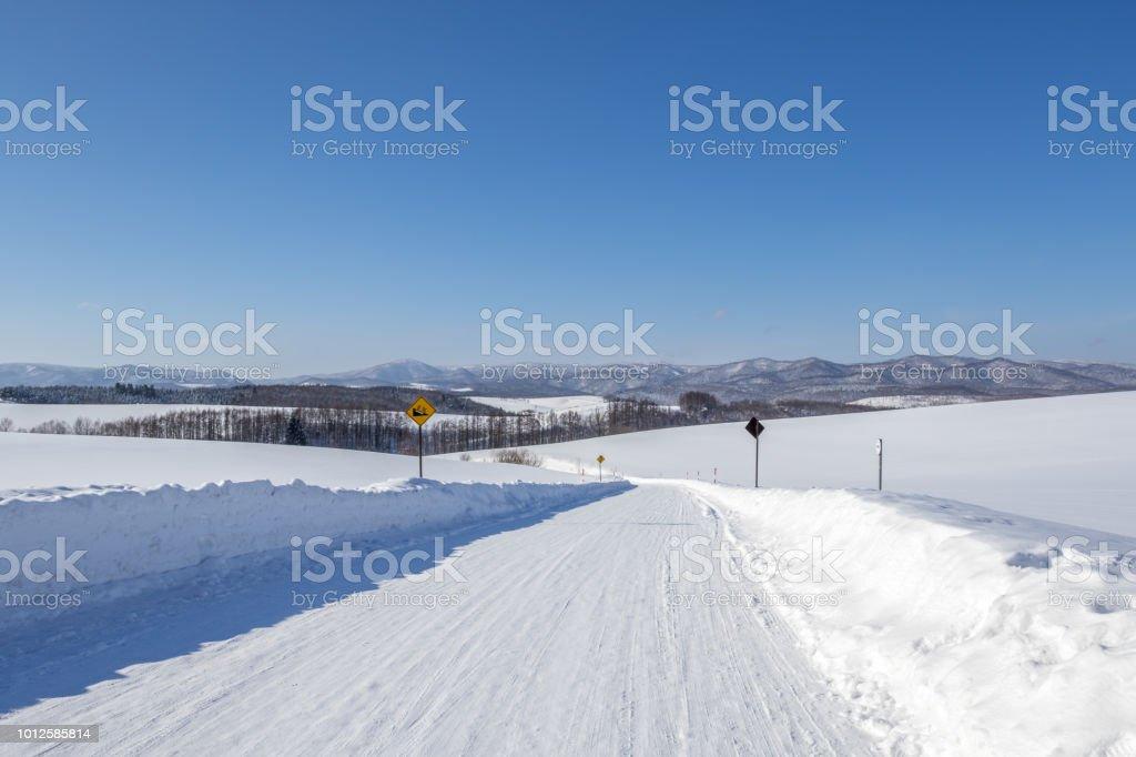 凍った道路、美瑛、北海道、日本。 ストックフォト