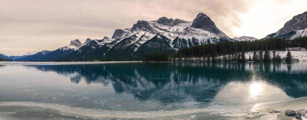 Frozen Rundle Forebay Water Reservoir Above Canmore Alberta Canadian Rocky Mountains stock photo