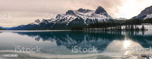 Photo of Frozen Rundle Forebay Water Reservoir Above Canmore Alberta Canadian Rocky Mountains