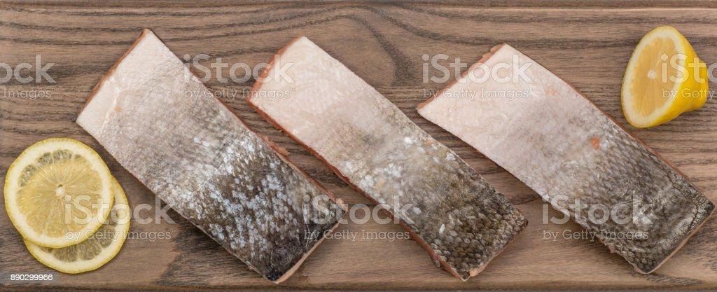 Frozen salmon fish fillets stock photo