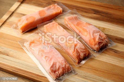 Fresh frozen Salmon filets.