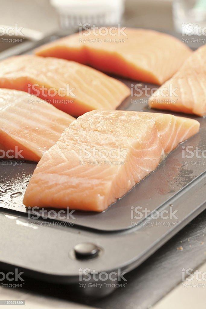 Frozen salmon steaks stock photo