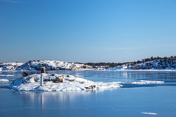 Frozen sea and islands stock photo