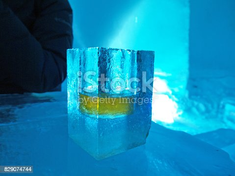 istock Frozen Shot glass of whiskey made of ice 829074744