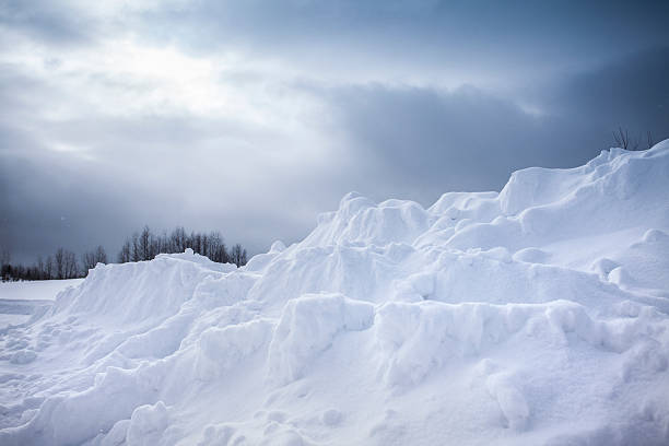 Frozen snow bank in the winter stock photo
