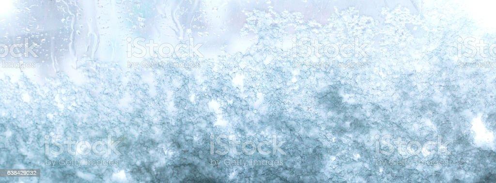 Frozen, snowy window stock photo
