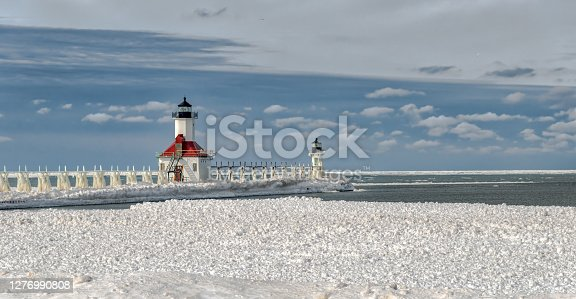 An image of St. Joseph lighthouse on Lake Michigan