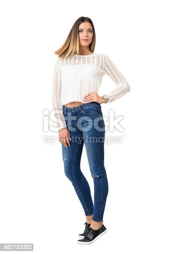 istock Frozen straight hair motion of young casual girl wearing braided shirt. 652753332
