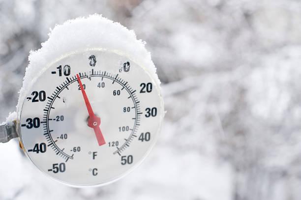 Frozen Thermometer near Yellowknife. stock photo