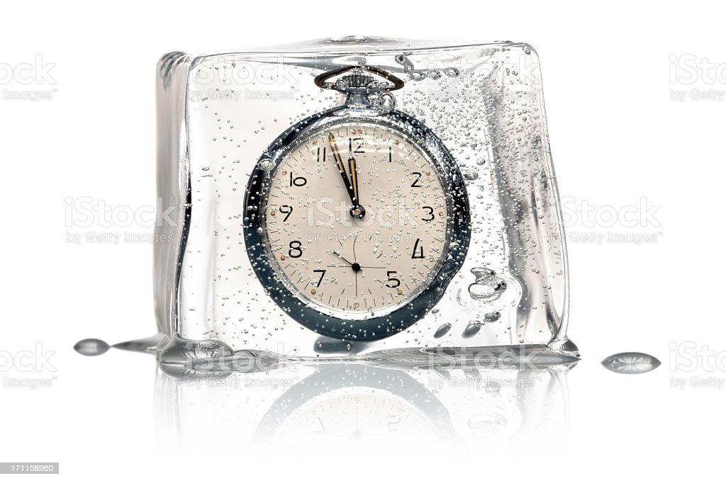 Frozen Time Concept - Clock Ice Cube retro stock photo